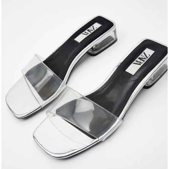 Zara Silver Heeled Clear Vinyl Slide Sandals 40